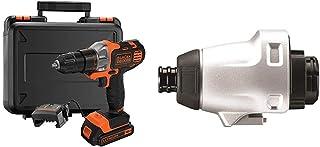 BLACK+DECKER 18 V Multievo Power Drill with Screw Bits, Driver Attachment and Kitbox, 1.5 Ah Lithium Ion, MT218K-GB & Mult...