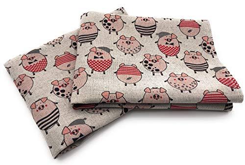 JOWOLLINA 2er-Set: Geschirrtücher Küchenhandtücher Handtücher Tücher 47x70 cm Leinenmischung Bedruckt (Schweinchen)