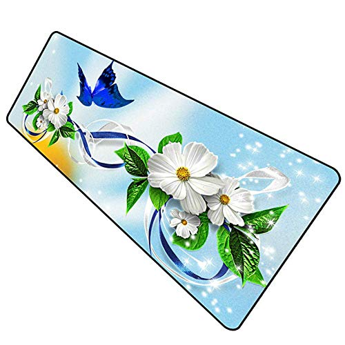 Double Beautiful Flower Big Cool - Almohadillas de ratón para teclado y ratón para juegos (400 x 700 x 3 mm)