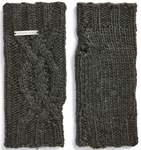 Michael Kors Cable Knit Arm Warmers with Thumb Hole,Charcoal Grey