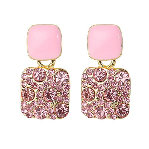 Pendientes de moda para mujeres y niñas, elegante geométrico completo taladro Rhinestone corazón corazón cuadrado pendiente oído Stud, Metal,