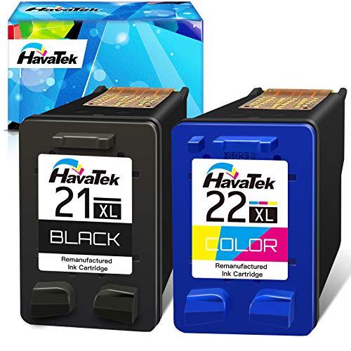 HavaTek Remanufacturado 21 XL Negro 22 XL Tricolor Cartuchos de tinta para HP 21XL 22XL HP Deskjet F2120 F2280 F380 F390 F4180 F335 F4180 f4190 d2360 d1460 psc 1410 1415 officejet 4315 4355 impresoras