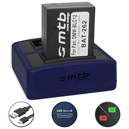 Batería + Cargador Doble Compact (USB) para Panasonic DMW-BLC12(E) / Lumix DMC-FZ200, FZ300, FZ1000, FZ2000. / Sigma DP Quattro/Leica Q (Typ 116) - v. Lista (Cable USB Micro Incluido)