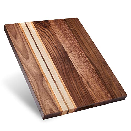 Sonder Los Angeles, Large Multipurpose Walnut/Cherry/Maple Wood Cutting Board, 17x13x1.1in Reversible with Cracker Holder (Gift Box Included)