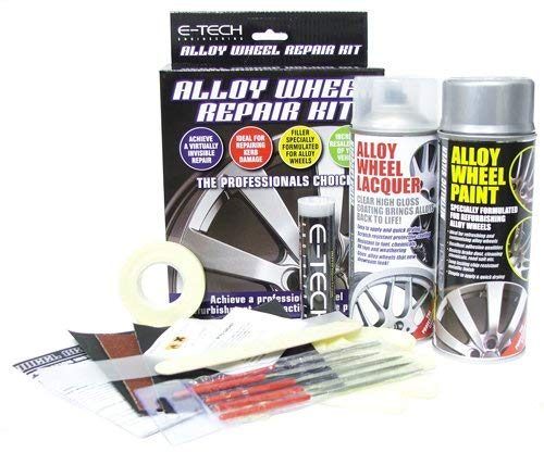 E-Tech AW-KIT-01-ET Car Complete Alloy Wheel Refurbishment Repair Professional Kit, Silver