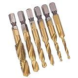 Broca de rosca de alta eficiencia M10 M8 M6 M5 M3 6542 Broca de acero de alta velocidad 6 piezas para apretar(Long)