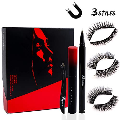 【3 Pairs】Upgrade False Eyelashes,Reusable Magnetic Eyelashes, Invisible Magnetic Eyeliner with Mascara and Tweezers kit,3D Handmade Waterproof False Eyelashes Extensions for Daily,Travel,party etc.