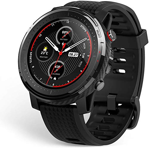 Amazfit Stratos 3 Smartwatch mit GPS und Musikspeicher, Sportuhr mit 19 Sportmodi, 1,34 Zoll MIP-Display, 5 ATM Wasserdicht, Fitness Tracker für Herren, Outdoor