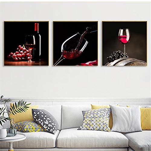 3 paneles de pintura de vino tinto, decoración de cocina, cuadros de pared para decoración de comedor, carteles de uva, decoración moderna para el hogar, 50x50 cm (20x20 pulgadas) x3 sin marco
