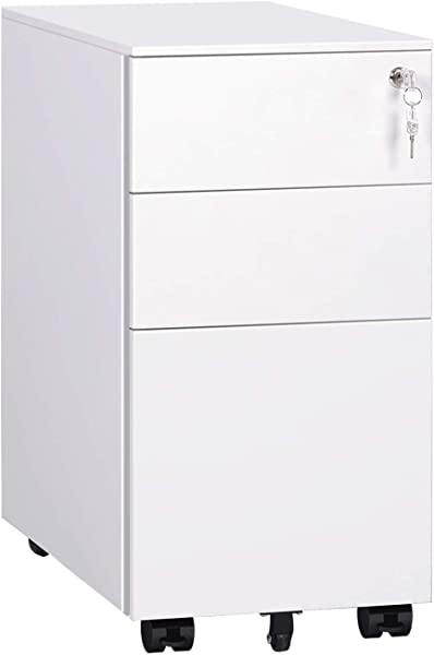 DEVAISE Locking File Cabinet 3 Drawer Rolling Metal Filing Cabinet Fully Assembled Except Wheels