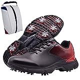 Shhyy Zapatos De Golf Antideslizantes para Hombres,Bolsa De Zapato-Calzado De Golf Profesionales,Zapatillas De Golf Impermeables Calzado para Caminar Al Aire Libre para Hombres,Negro,13US