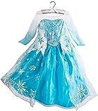 Tante Tina Disfraz de princesa de hielo para niña, con estampado de copos de nieve, color azul, plateado y blanco, talla 140 (134-140)