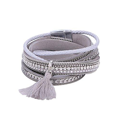Treend24 Elegant dames slake armbanden Boho ibiza dubbele armband Beach Summer wikkelarmband ster grijs kwast