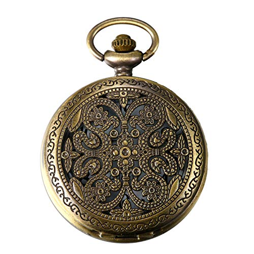 JewelryWe Taschenuhr Retro Blumen Schmetterling Hohe Openwork Analog Quarz Uhr mit Halskette Kette Uhren Pocket Watch Geschenk Bronze