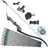 Bogenschießen Recurve Bow 30-60lbs Jagd Takedown Outdoor Bogen(bow set, 60lbs)