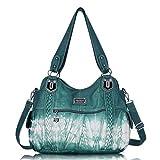 Angel Barcelo - Borsa a tracolla da donna, stile Hobo, (Blu-verde.), Large