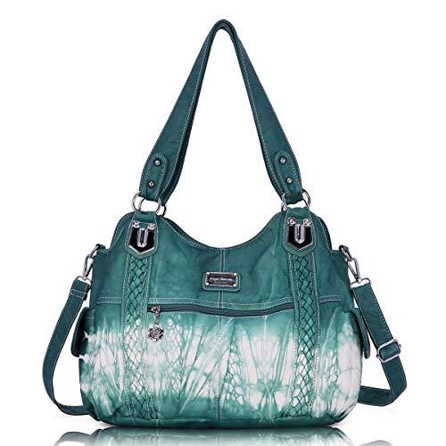 Angel Barcelo Roomy Fashion Hobo Womens Handbags Ladies Purse Satchel Shoulder Bags Tote Washed Leather Bag Blue Green