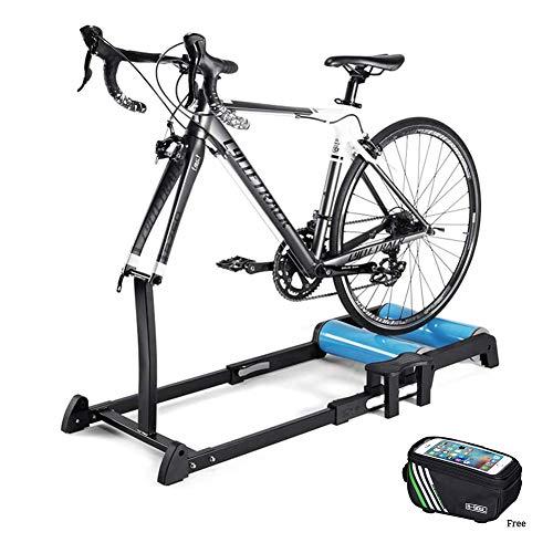 GWSPORT Rollentrainer Fahrrad, Tragbarer Roller-Reiter Indoor Bike Trainer Mit Verstellbarem Vorder Roller Und Faltbare Rollenhalter, Geeignet Für 24