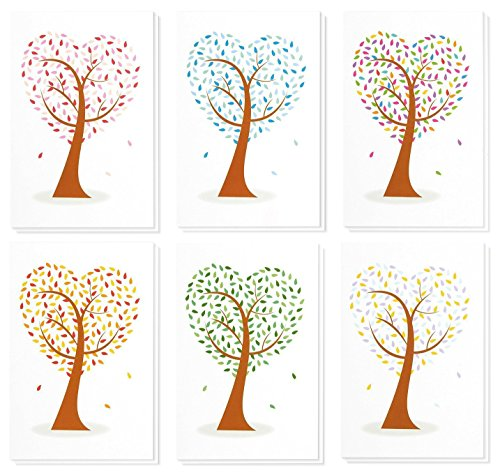 Bulk Blank Greeting Note Cards Notecards with Envelopes, Colorful Tree Design (4 x 6 In, 48 Pack)