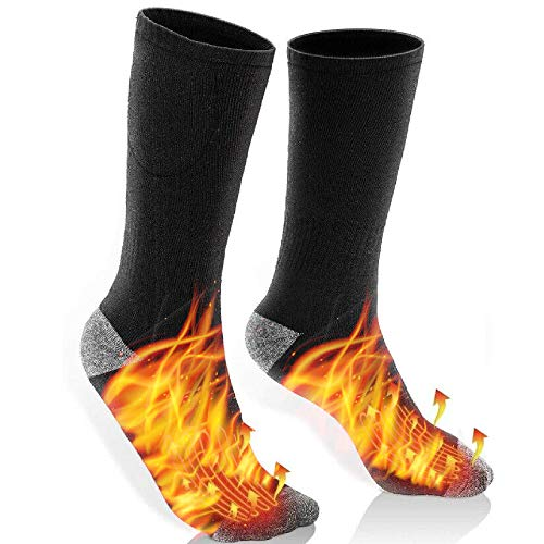 Carenoble Heated Socks Battery Included - Thermal Socks for Men & Women - Electric Heating Socks for Camping Hunting Fishing Cycling Hiking & Winter Sports - Soft & Cozy No Show Boot Socks