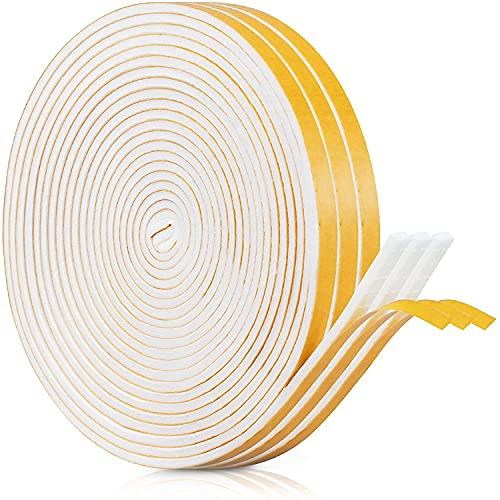 Dichtungsband Selbstklebendes für Türen Fenster, Schaumstoff Klebeband Schaumstoffstreifen, Türdichtung, Gummi-Dichtungsstreifen Schalldämmung Kollision Siegel (6mm(B) x 3mm(D)/18m, Weiß)