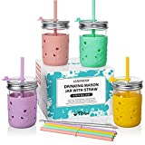 Kids & Toddler Cups with Straw - 4 Pack Spill Proof 8 OZ Glass Mason Jars Smoothie Snack Cups with Sleeve +4 Leak Proof Lid +8 Silicone Straw with Stopper, BPA FREE Baby Tumbler Sippy Cup for Drinking