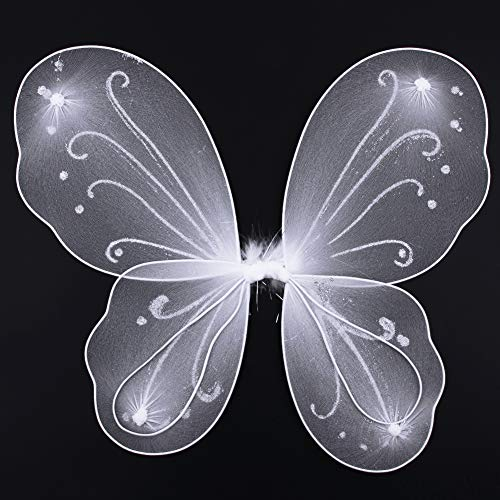 Dushi Girls Butterfly Craze Fairy Wings for Fairy Costumes Party Favor White …