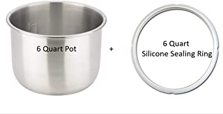 Bonus Pack: Stainless Steel Inner Cooking Pot Compatible with 6-Quart Instant Pot. Free Compatible Silicone Sealing Ring! (Stainless Steel, 6 Quart)