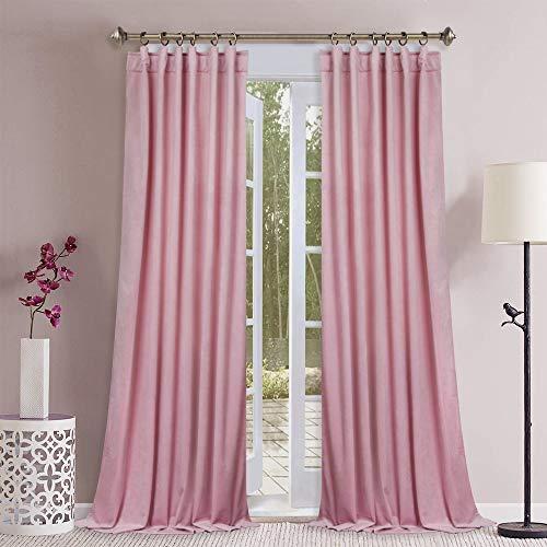 Pink Velvet Curtains for Girls Room - Luxury Soft Plush Velvet Drapes Room Darkening Privacy Protect Panels with Rod Pocket & Back Tab for Baby Bedroom, W52 x L84, 2 Panels