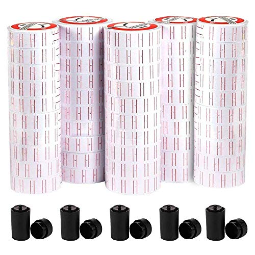 MX5500 Price Tag, 50 Roll Labels, 5 Ink Wheels, for Clothing Tags -Price Stickers-Expiration Date Stamp,1 line Label, Date Sticker(White)