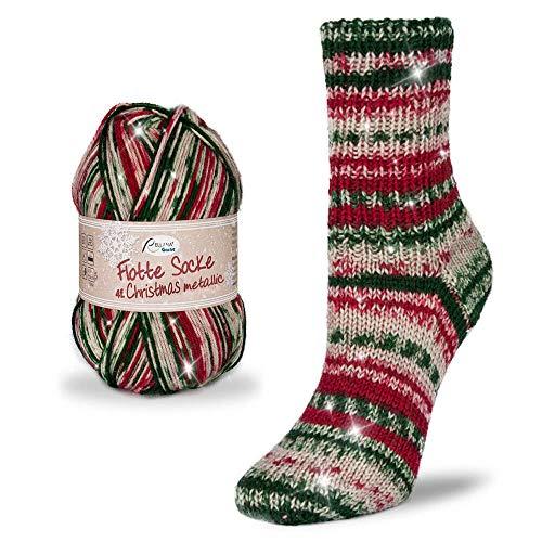 Rellana Flotte Socke Christmas Neu 75% Schurwolle Superwash, 25% Polyamid wahlweise mit Oder Ohne Glitzerfaden. 100 Gr. 4-Fach, (2402 Christmas mit Glitzer)
