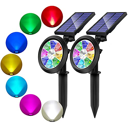 BOHON Solar Lights Outdoor 9 LEDs Multi Color Spot Light with Auto On/Off, Waterproof Spotlight Solar Garden Lights for Landscape Lighting Yard Patio(Changing & Fixed Color 2Pack)