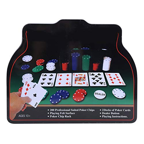 Alomejor Chips Poker Set 200Pcs gram Poker Chips en Caja de Regalo de Las Vegas con Estuche de Hierro para Juego Familiar