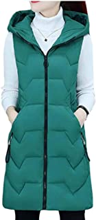 Womens Casual Hooded Coat Zipper Up Thickened Sleeveless Slim Fit Long Down Vest Jacket with Pocket