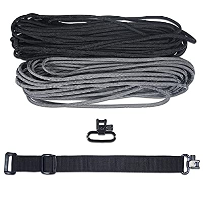 DIY Adjustable 43 Inch King Cobra 550 Paracord Multi-Purpose Sling, Strap (Charcoal Gray and Black with Black Webbing)