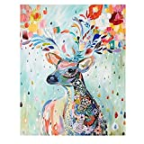 CHOPOFAN DIY Paint by Numbers for Adults Beginner Oil Painting Kit for Kids, with Pre-Printed Textured Rolled Canvas(No Creases) 16 x 20in 3pcs Paintbrushes, Acrylic Paint-Colorful Elk
