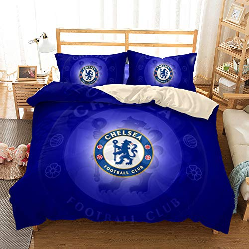 JinWensm Duvet Cover double bed 200x200 cm, Chelsea F.C Bedding Sets 3 PCS with Zipper Closure, 1 Quilt Cover With 2 Pillowcases 50x75 cm Football team