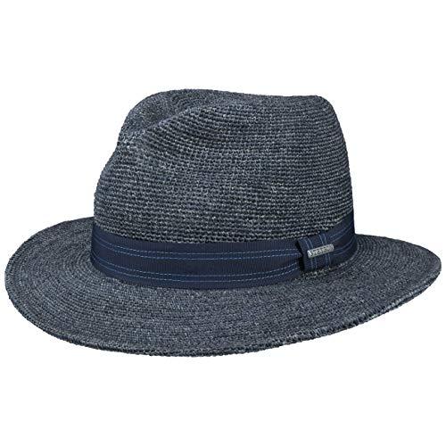 Stetson Sombrero de Rafia Crochet Traveller Hombre - Paja Sol con Banda Grosgrain Primavera/Verano