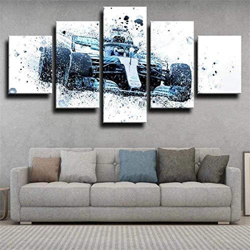 5 Piezas Cuadro sobre Lienzo Imagen Botas De Fórmula 1 Merced Impresión Pinturas Murales Decor Fotos para Salon Dormitorio Baño Comedor Regalo 80X150Cm