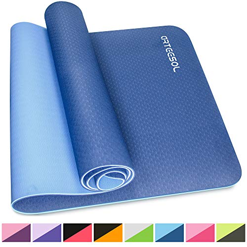 Exercise Mat arteesol 1/4-Inch Thick Large Yoga Mat Non-Slip Eco Friendly Fitness Mat with Carry Strap Premium for Pilates Fitness Workout Gymnastics 72'' x 24'' (183 cm x 61 cm x 6 mm)