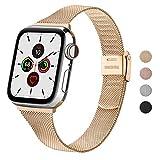 Wanme Correa Compatible con Apple Watch Correa 44mm 42mm 40mm 38mm, Estrecha y Fina Pulsera de Repuesto de Acero Inoxidable Hebilla de Metal para iWatch Series 6 5 4 3 2 1 SE (38mm/40mm, Oro Rosa)