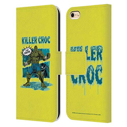 Head Case Designs Oficial Batman DC Comics Cocodrilo Asesino Desconexión de Villanos Carcasa de Cuero Tipo Libro Compatible con Apple iPhone 6 / iPhone 6s