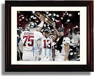 Framed Alabama Quarterback Tua Tagovailoa - National Championship Trophy - Autograph Replica Print