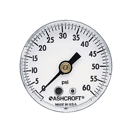 Back Mount ASHCROFT 15W-1005-PH-01B-100 0-100PSI 1//8NPT 1-1//2INCH Pressure Gauge