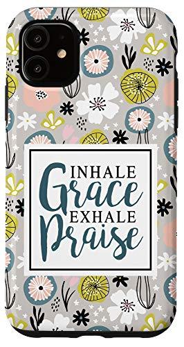 iPhone 11 Grace   Praise Christian Lettering Art on Flowers AEC262 Case