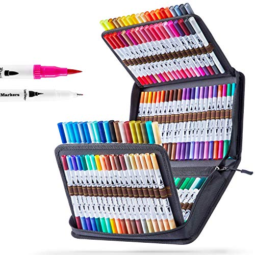 Ohuhu アートマーカーペン 120色 水性 筆先 水彩ペン 水性 ふでタイプ ふで・極細 ブラッシュ 鮮やか イラスト 手帳 絵手紙 色塗り 塗り絵 カード 収納ケース付き