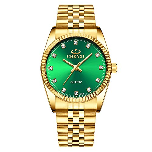 XLORDX XLORDX Herren Armbanduhr Business Casual Analog Quarz Gold Uhr mit Edelstahl Schwarz