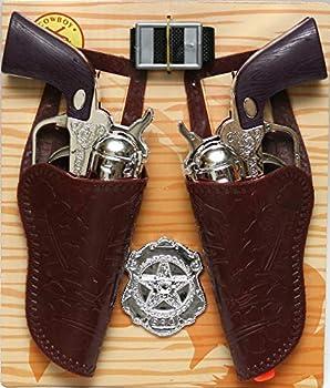Western Cowboy Hand Gun Toy Play Set Pistol & Holster Sheriff Badge for Kid Boy Gift Age 3+
