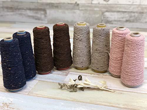可愛いカラフル糸 8本セット #387濃藍 #382ネップ入りキナリ #7淡紅色 #600チョコレートブラウン 太さ1/3.8 100g 編み物 手芸 ハンドメイド ウール糸 糸