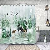 lovedomi Juego de cortinas de ducha con ganchos de 177,8 x 177,8 cm